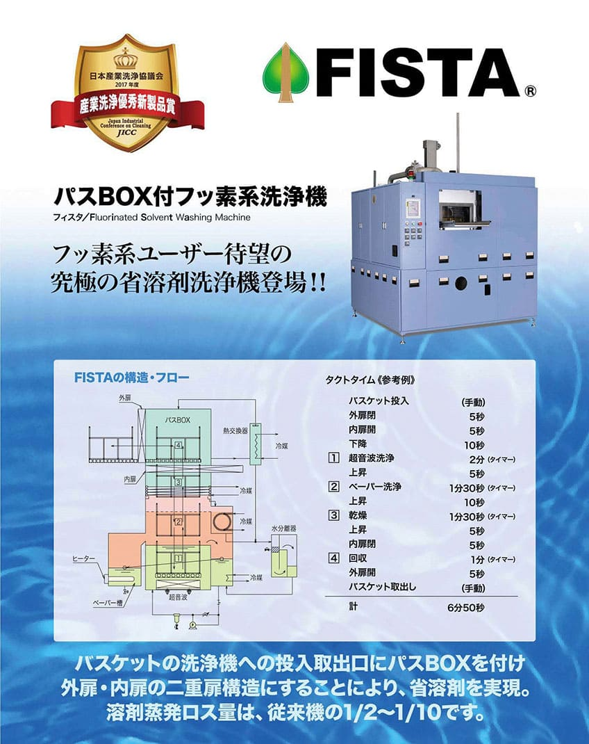 〇第3回 2017年度 <br /> パスBOX付フッ素系溶剤洗浄機<br /> 「FISTA」